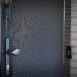 Crimsafe iQ door with touchpad system in black