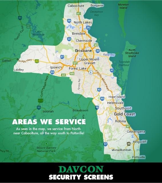 Areas we service - Crimsafe Brisbane & Crimsafe Gold Coast