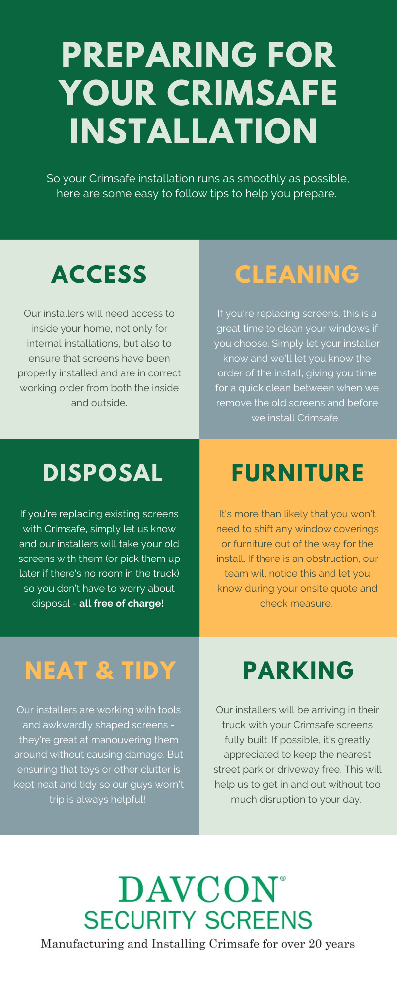 How to prepare for your Crimsafe installation with Davcon infographic
