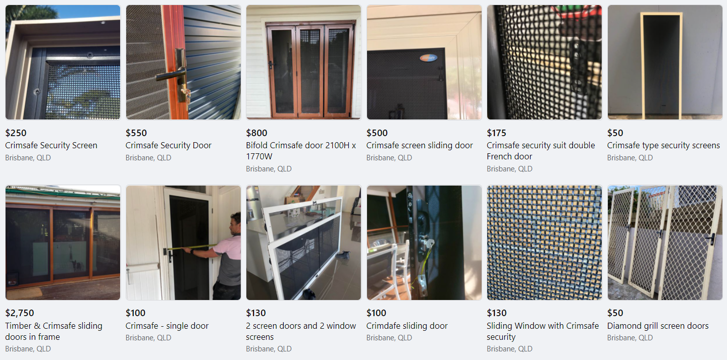 Second-hand Crimsafe on Marketplace - Davcon security screens
