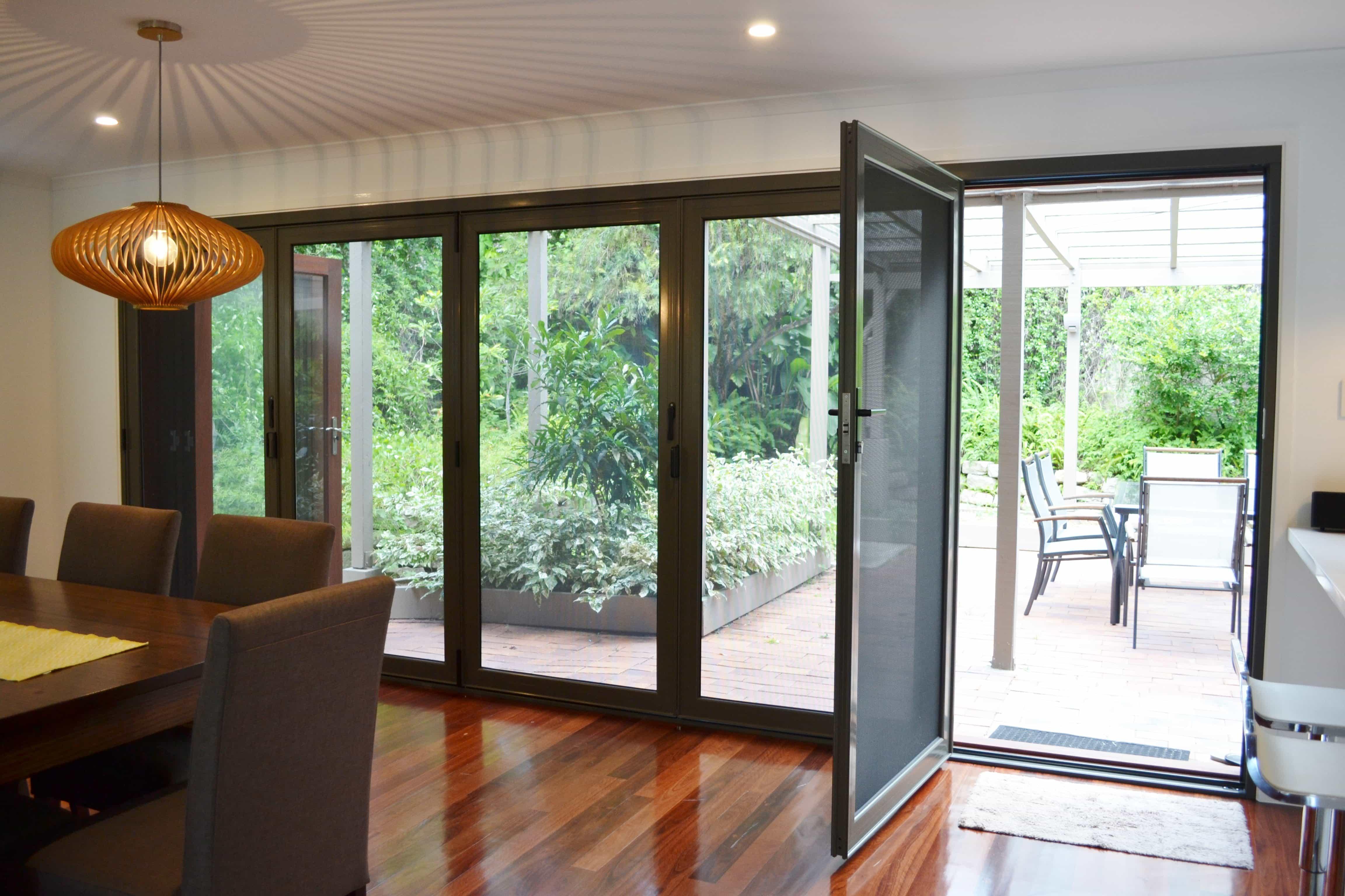 Crimsafe bifold door with one panel open