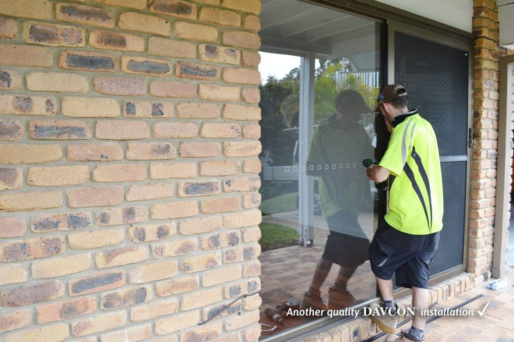 Davcon staff installing security doors at Indooroopily Brisbane