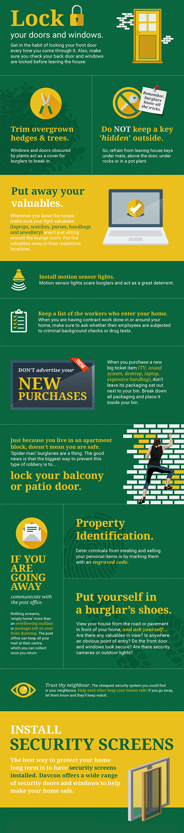 Davcon home security tips infographic
