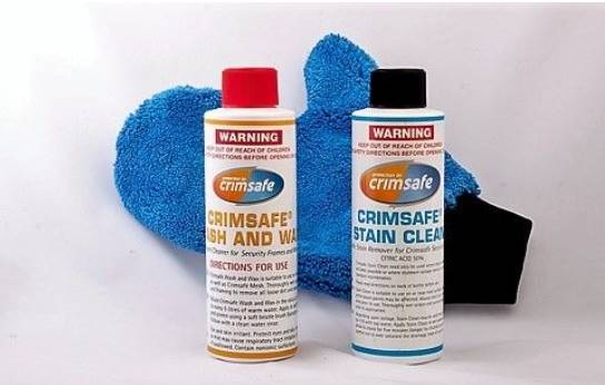Crimsafe cleaning solution and glove